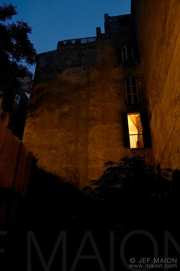 Glowing window and night