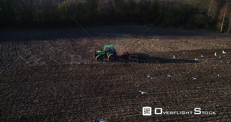 Spring Plow, Aerial View Around a Plowing Machine Sowing and Birds Flying Around the Vechicle, Sunny Spring Evening Dawn, Uusimaa, South Finland