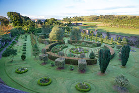Parkhead. Elevated view over garden showing design of formal walled garden. Parkhead, Roseneath, Helensburgh, Dumbartonshire, Scotland, UK.