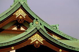 Copper-clad roofs of Kameido shrine, Tokyo.