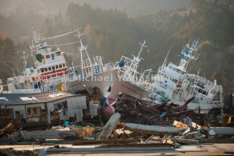 March 11 Great Eastern Japan Earthquake and Tsunami. Measuring 9, biggest ever to hit Japan destroying the NE coast line cities and villages for 200plus miles.  Kesennuma is #3 in Japan fish processing. Boats in harbor thrown up on cement.