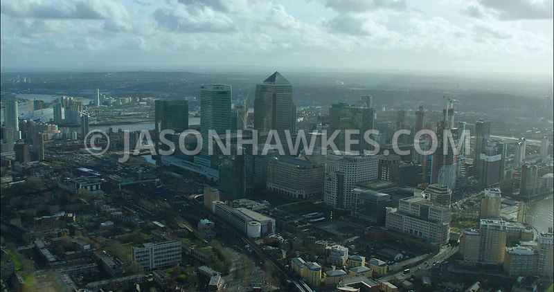 London Aerial footage, Canary Wharf with River Thames.