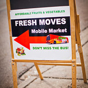 Sign on street, Fresh Moves food truck, Illinois, USA