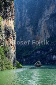 Tourist ship on the Three Little Gorges, Yangtze River, Hubei, China