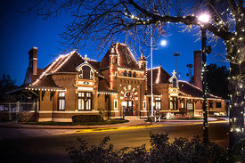 Christmas lights adorn the Nampa Train Depot