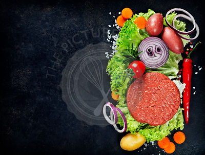 Raw Ground beef meat Burger steak cutlets with seasoning and vegetables