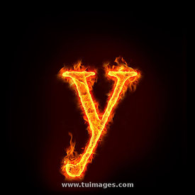 fire alphabets, small letter y