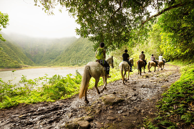 Horseback riding at Grand Etang, Reunion Island