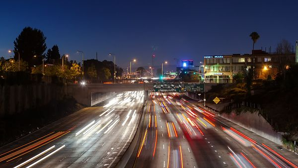 Wide Shot: Highway On Hyper Speed, Blurs Of Headlights & Taillights