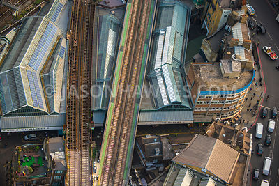 Aerial view of London, Train tracks on top of Borough Market.