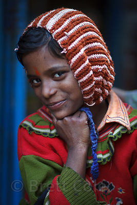 Portrait of a girl in Varanasi, India.