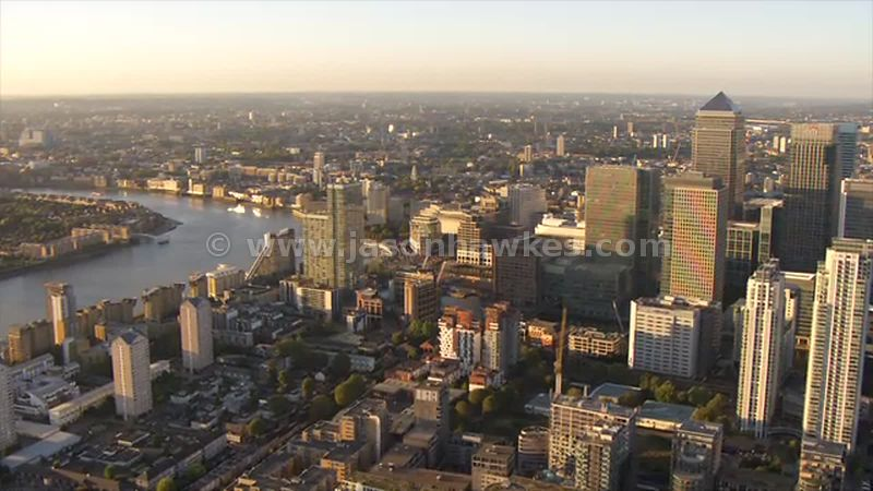 Aerial footage of Canary Wharf, London