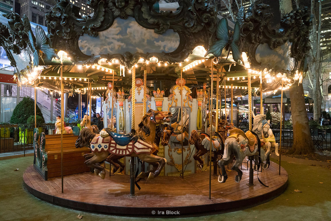 The carousel at the Bryant Park Winter Village in Manhattan, New York