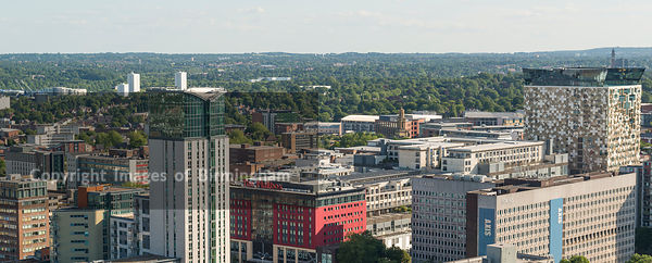 Aerial photograph of Birmingham City Centre, England. Showing The Mailbox, The Cube and apartments.