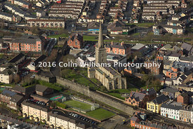 Aerial view - Saint Columb's Cathedral, Derry