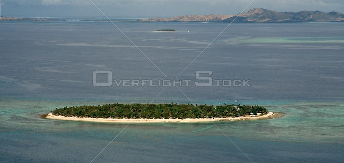 Aerial view of small island off Fiji, Melanesia, Pacific, September 2007