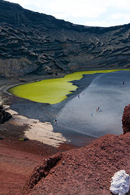 El Golfo and the strange lake coloured green through the acion of algae, Lanzarote, Canary Islands, Spain.