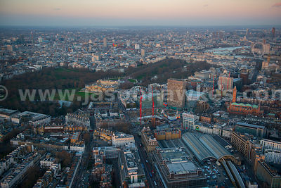 Aerial view of Buckingham Palace at dusk, London