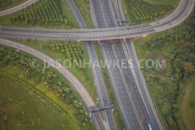 Aerial view of  M25 junction at Heathrow Airport