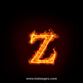 fire alphabets, small letter z