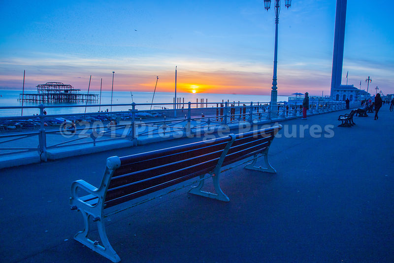 Bench on Brighton's Seafront at Sunset