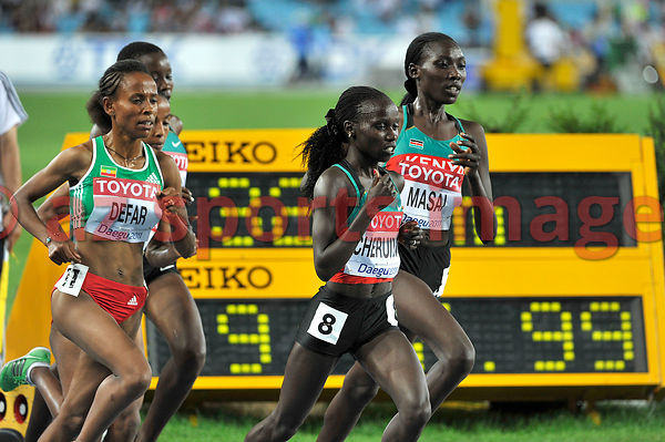 Vivian Jepkemoi Cheruiyot takes the first position during the 5000m. race