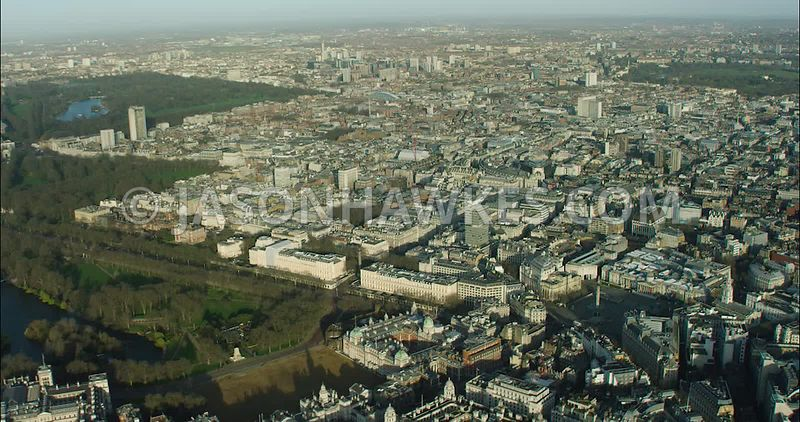 London Aerial Footage of St James's with St James's Park towards Trafalgar Square and River Thames.