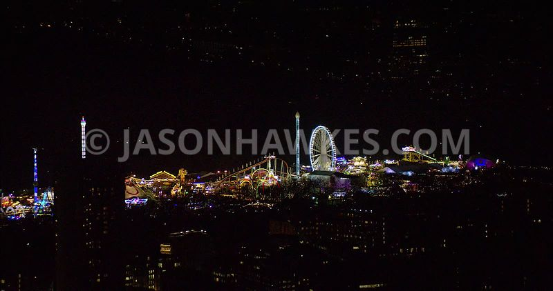 London night aerial footage, Winter Wonderland at night.