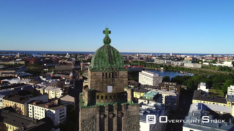 Helsinki Cityscape, Uhd Aerial View Around the Kallio Cathedral Church Tower and the City, on a Sunny Summer Morning Dawn, in Helsingfors, Uusimaa, Finland