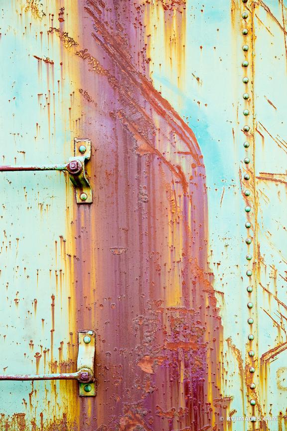 RUSTY OLD TRAIN FREIGHT CAR WALL RANDOLPH VERMONT COLOR ABSTRACT