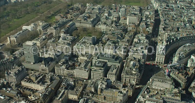 London Aerial Footage of Piccadilly Circus with St James's Market.
