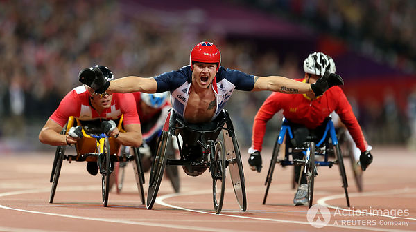 Paralympics - London 2012 Paralympic Games - Olympic Stadium - 6/9/12 Athletics - Men's 800m - T54 - Great Britain's David Weir (C) celebrates winning gold Mandatory Credit: Action Images / Steven Paston Livepic PLEASE NOTE: FOR EDITORIAL USE ONLY