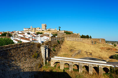 The castle and the old town inside the walled village of Estremoz. Alentejo, Portugal