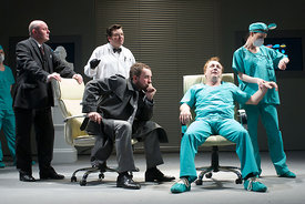 (l to r) Mark McDonnell, Steven McNicoll, Keith Fleming, Jimmy Chisholm & Jo Freer in Trumpets & Raspberries at The Royal Lyceum Theatre, Edinburgh. Directed by Tony Cownie
