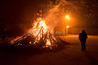 Bonfire to celebrate the Winter Solstice Festivities. Constantim, Trás-os-Montes. Portugal