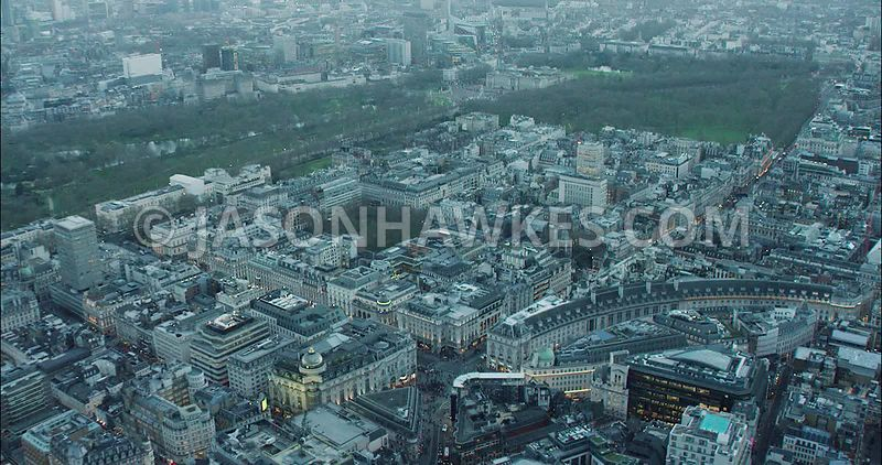 London Aerial Footage of Regent Street towards Oxford Circus from Piccadilly Circus.