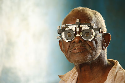 An elderly man has his eyes tested at a ZOP mobile medical camp in Kizimkazi, Zanzibar, October, 2010.