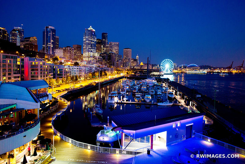SEATTLE SKYLINE WATERFRONT NIGHT