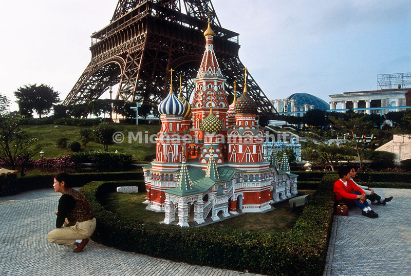 Chinese visit Window of the World, a theme park in Shenzhen that features miniaturized tourist sights, like Moscow's St. Basil's Cathedral.