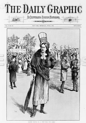Satirical cartoon about Susan B. Anthony, 1873
