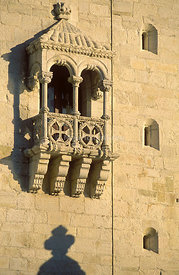 Torre de Belém (Belém Tower) window, a UNESCO World Heritage Site built in the 16th century, Lisbon, Portugal