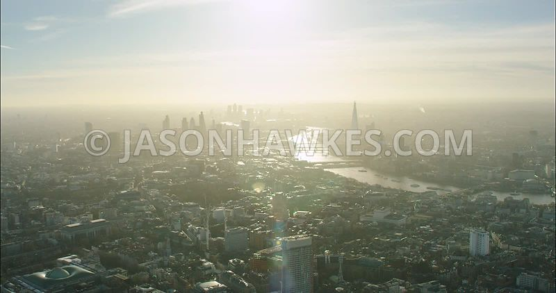 London Aerial Footage of Holborn towards City of London skyline.