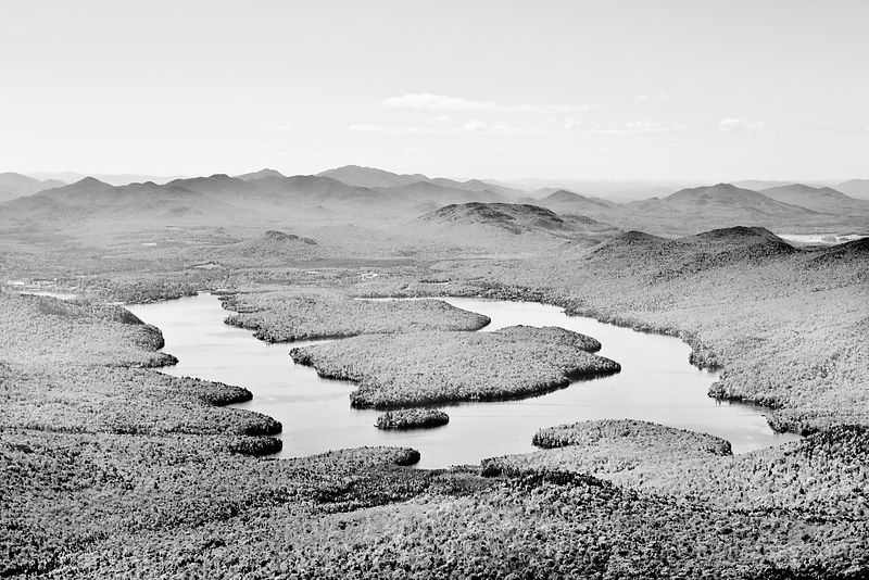 LAKE PLACID VIEW FROM WHITEFACE MOUNTAIN ADIRONDACK MOUNTAINS BLACK AND WHITE