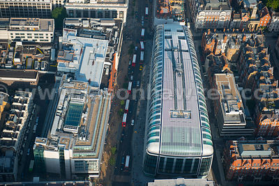 Aerial view of shops on Oxford Street, London