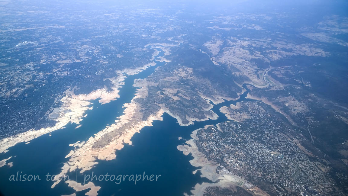 Folsom Lake during drought, Sacramento to Salt Lake City