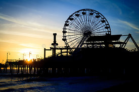 Santa Monica Pier Ferris Wheel Sunset Southern California