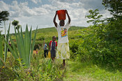 Woman carrying water water back to house from the river in containers on her head. Kenya.