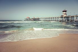Huntington Beach Pier Vintage Toned Photo