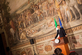 Italian Prime Minister Matteo Renzi makes a statement about Italy: Europe, a response to terrorism.