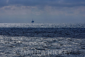 A gas rig off the coast of Holland near the German border